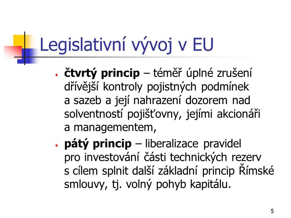 6 Legislativní vývoj v EU  cíl legislativy Evropské unie v oblasti pojišťovnictví: dosažení integrace, globalizace a fungování jednotného pojistného trhu v zemích EU;  snaha o odstranění všech překážek projevujících se zejména v národním právu, které brání nebo omezují vytvoření a fungování tohoto jednotného trhu;  sjednocení pravidel podnikání a maximální ochranu klientů pojišťoven.