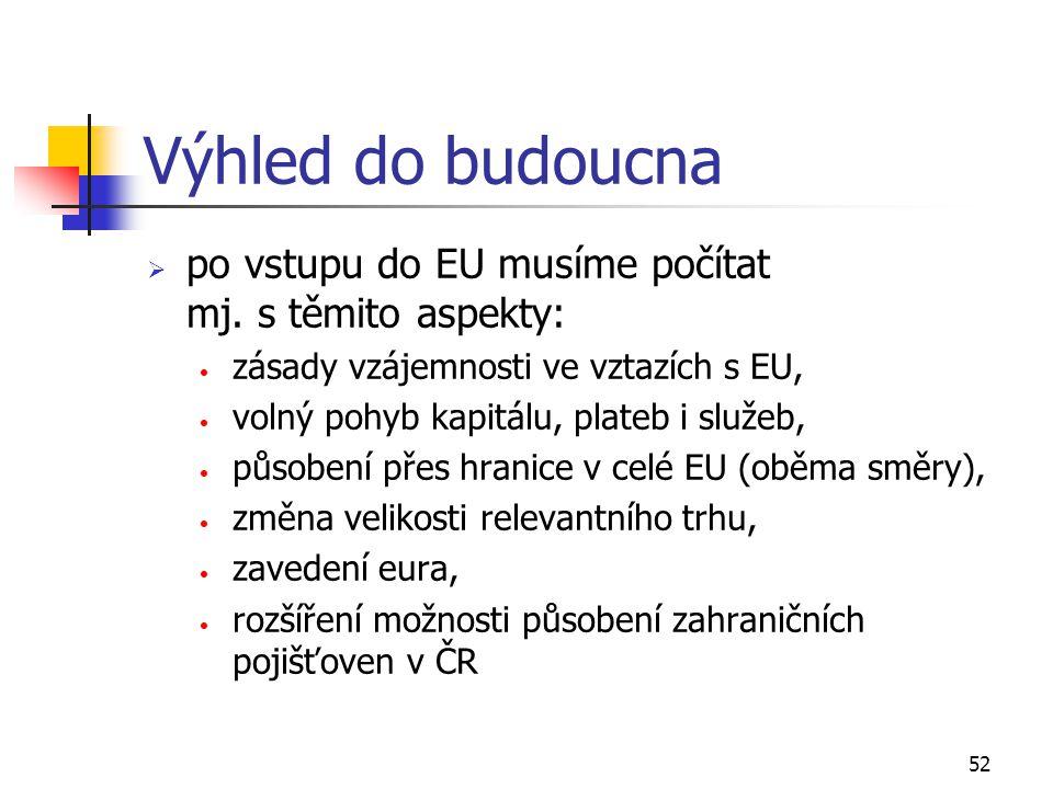 52 Výhled do budoucna  po vstupu do EU musíme počítat mj. s těmito aspekty: zásady vzájemnosti ve vztazích s EU, volný pohyb kapitálu, plateb i služe