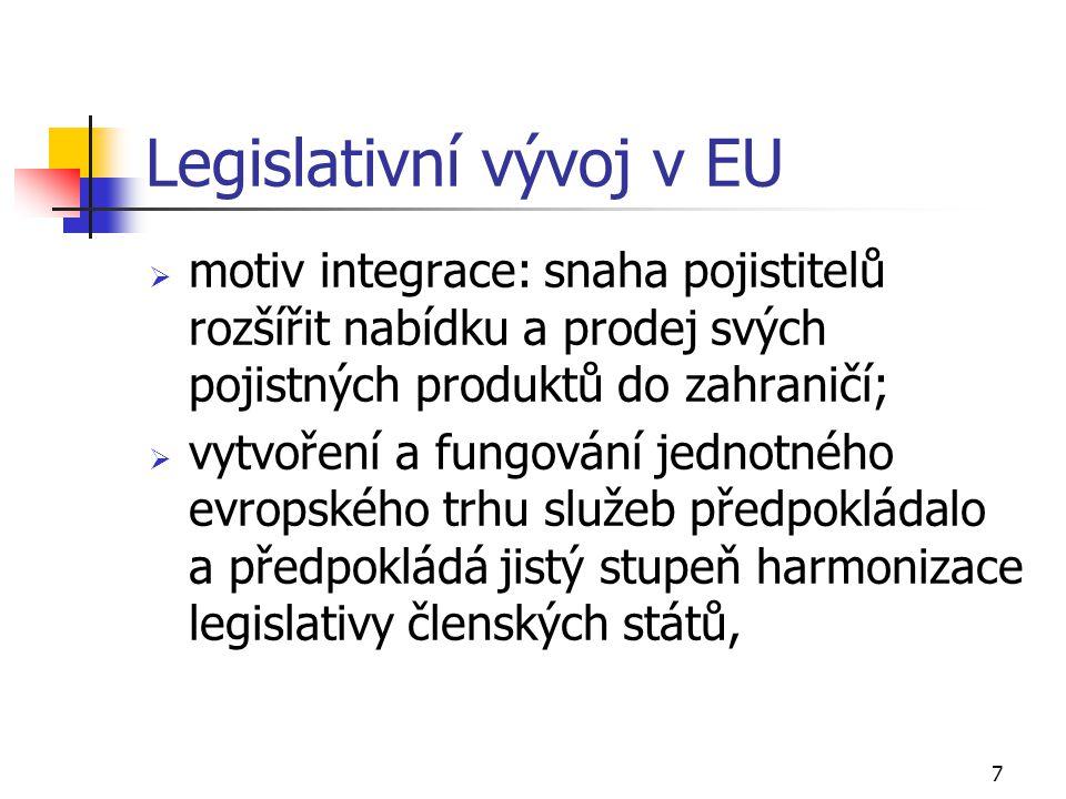 7 Legislativní vývoj v EU  motiv integrace: snaha pojistitelů rozšířit nabídku a prodej svých pojistných produktů do zahraničí;  vytvoření a fungová