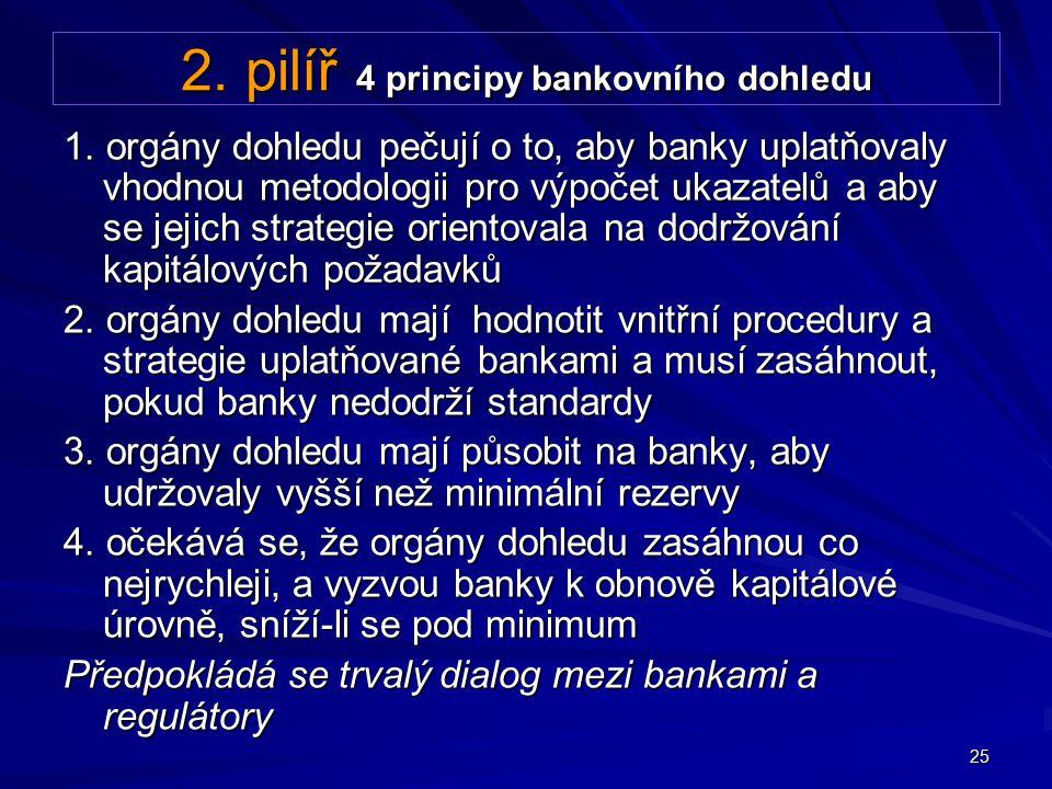 25 2. pilíř 4 principy bankovního dohledu 1. orgány dohledu pečují o to, aby banky uplatňovaly vhodnou metodologii pro výpočet ukazatelů a aby se jeji