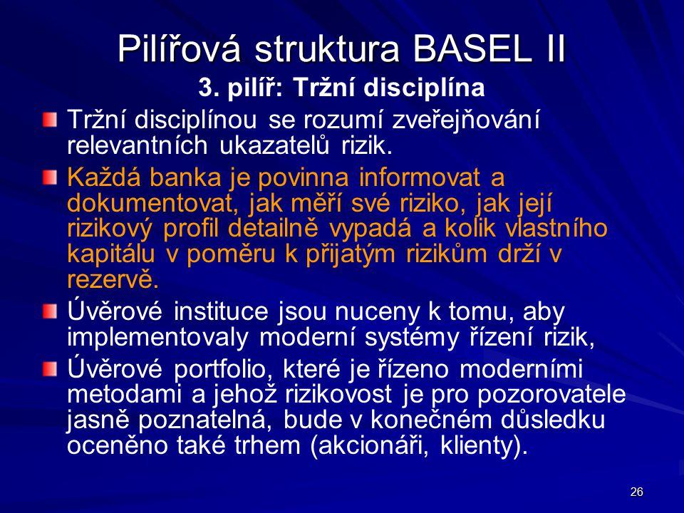 26 Pilířová struktura BASEL II 3. pilíř: Tržní disciplína Tržní disciplínou se rozumí zveřejňování relevantních ukazatelů rizik. Každá banka je povinn