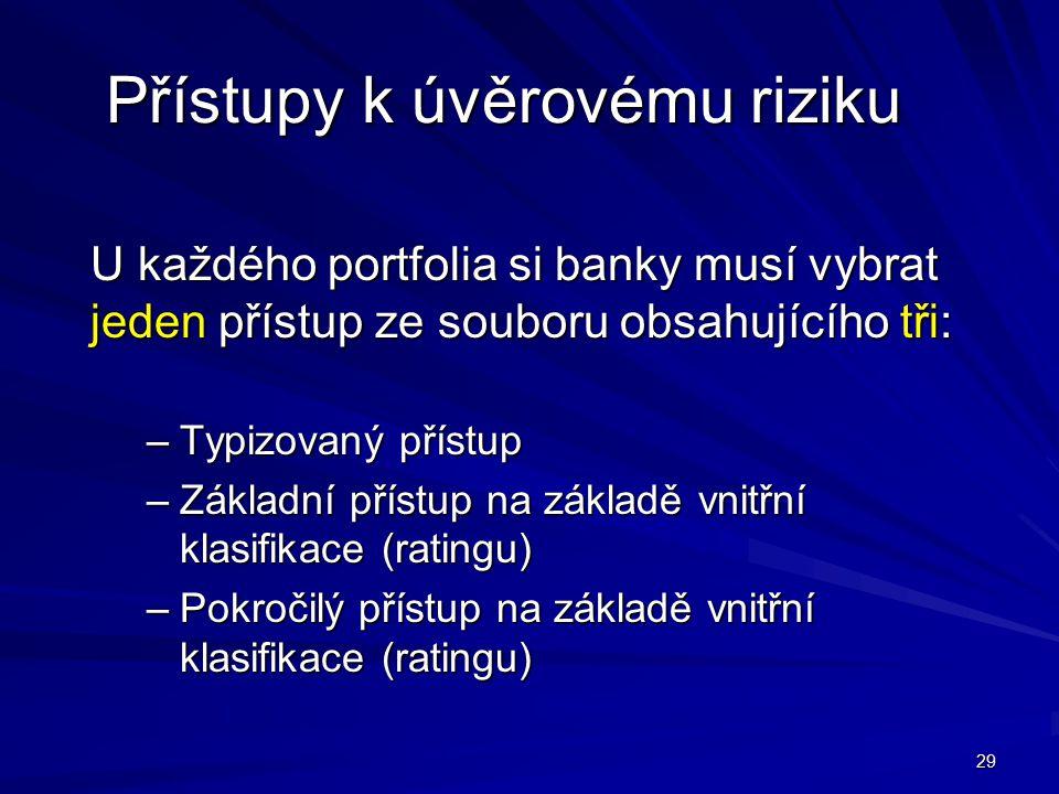 29 Přístupy k úvěrovému riziku U každého portfolia si banky musí vybrat jeden přístup ze souboru obsahujícího tři: –Typizovaný přístup –Základní příst