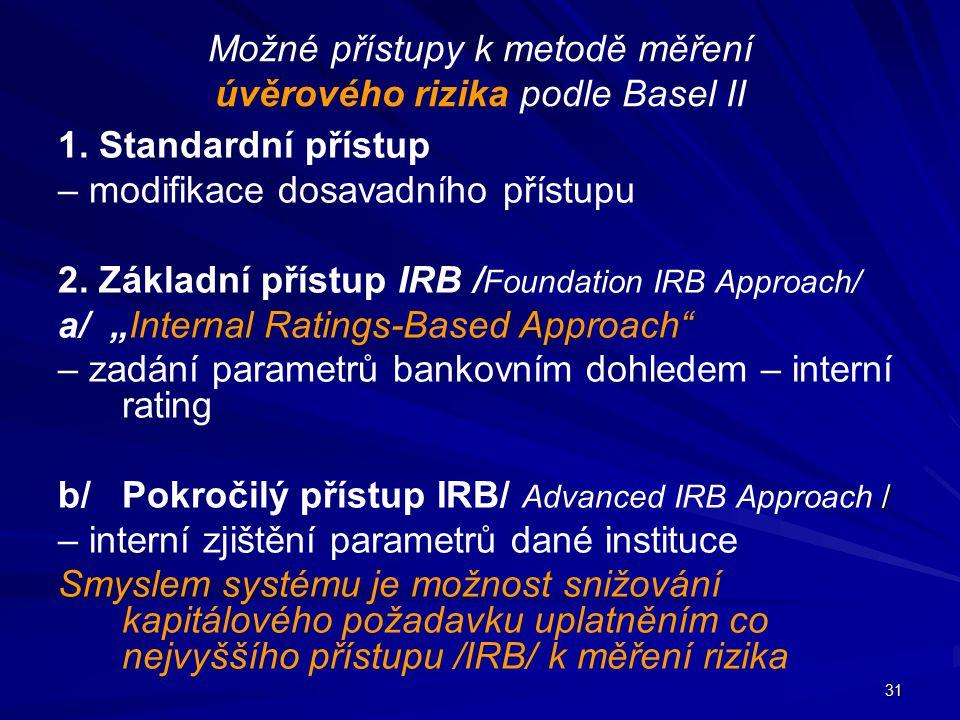 31 Možné přístupy k metodě měření úvěrového rizika podle Basel II 1. Standardní přístup – modifikace dosavadního přístupu 2. Základní přístup IRB / Fo