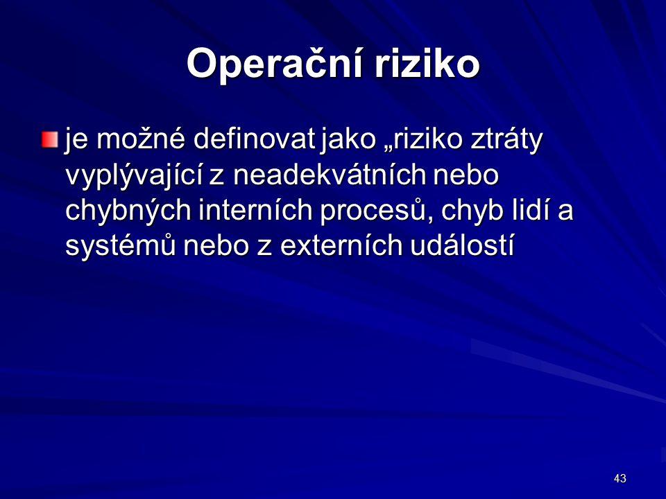 """43 Operační riziko je možné definovat jako """"riziko ztráty vyplývající z neadekvátních nebo chybných interních procesů, chyb lidí a systémů nebo z exte"""