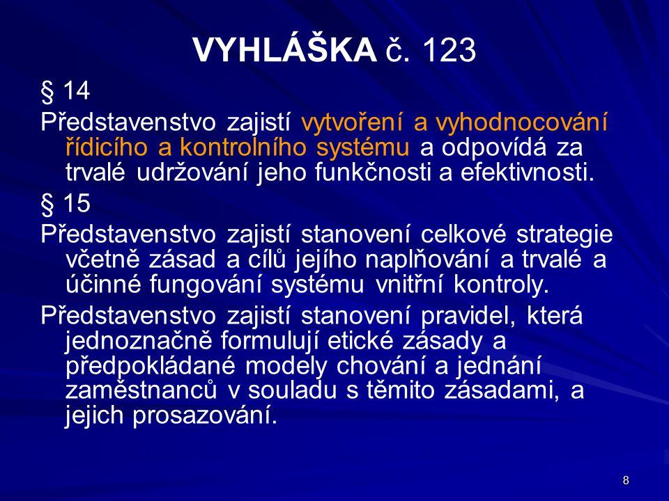 8 VYHLÁŠKA č. 123 § 14 Představenstvo zajistí vytvoření a vyhodnocování řídicího a kontrolního systému a odpovídá za trvalé udržování jeho funkčnosti