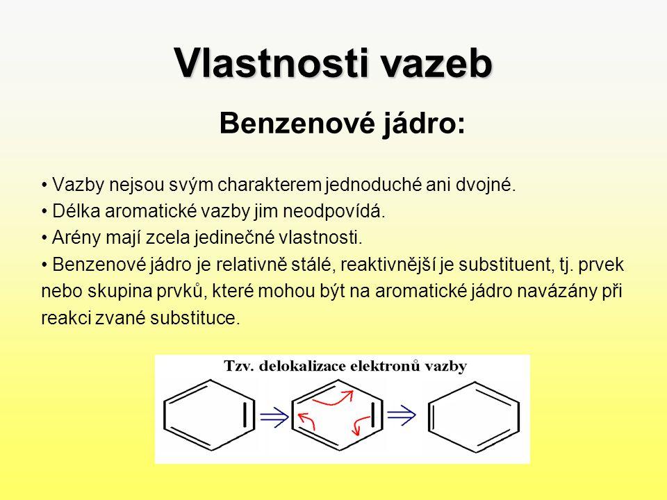 Významné arény BenzenVlastnosti: –Karcinogenní, jedovatá látka.Využití: –Používá se k výrobě léčiv, barviv a výbušnin.NaftalenVlastnosti: –Bílá, pevná, krystalická látka, sublimuje při pokojové teplotě.Využití: –Dezinfekce na WC, přípravky proti molům, výroba barviv.
