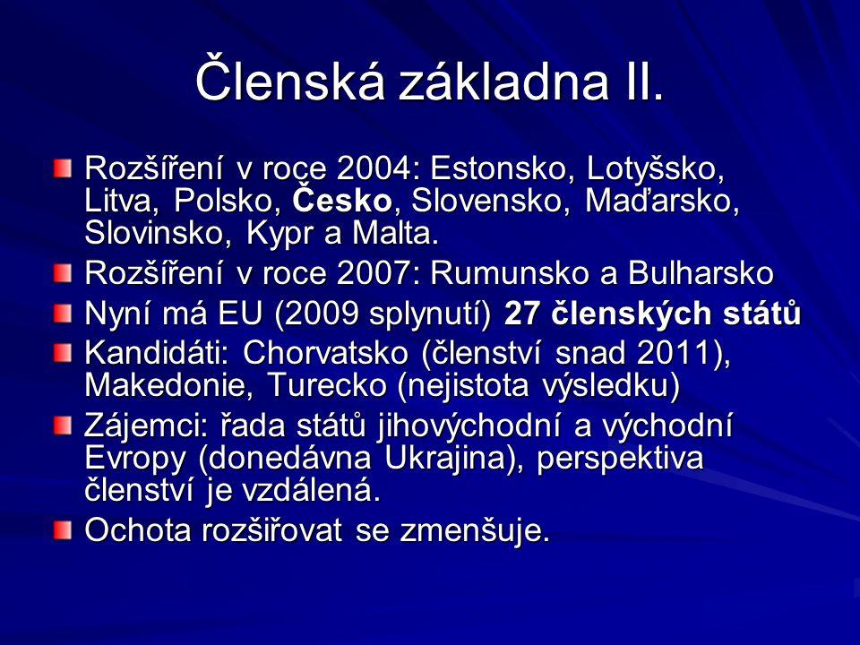 Členská základna II. Rozšíření v roce 2004: Estonsko, Lotyšsko, Litva, Polsko, Česko, Slovensko, Maďarsko, Slovinsko, Kypr a Malta. Rozšíření v roce 2