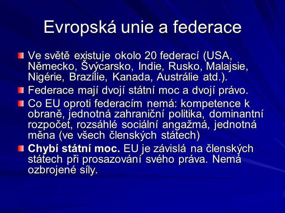 Evropská unie a federace Ve světě existuje okolo 20 federací (USA, Německo, Švýcarsko, Indie, Rusko, Malajsie, Nigérie, Brazílie, Kanada, Austrálie at