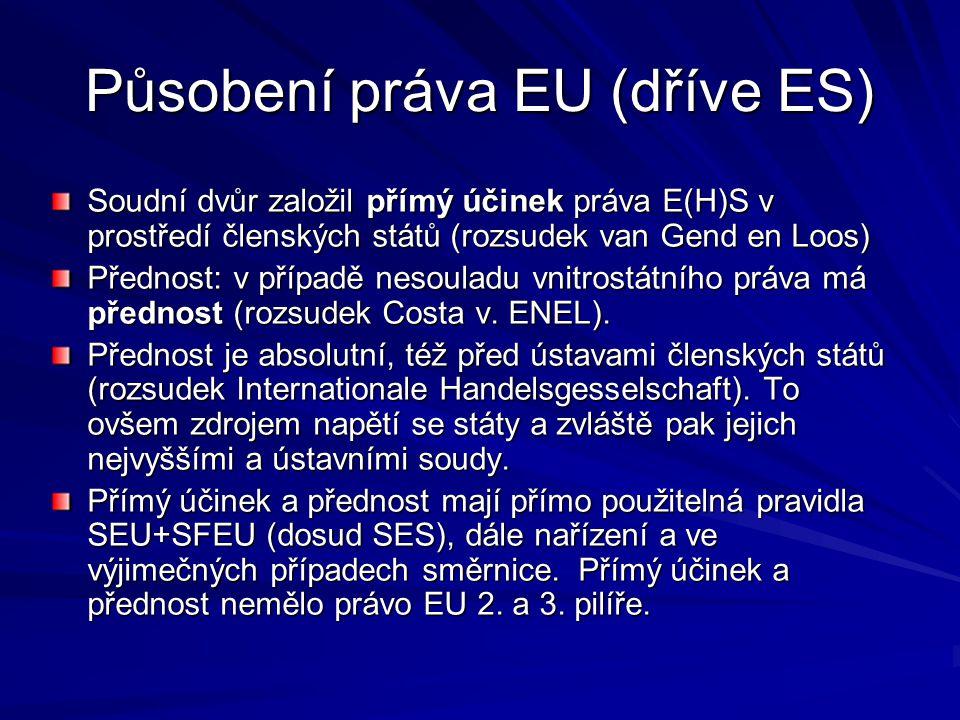 Působení práva EU (dříve ES) Soudní dvůr založil přímý účinek práva E(H)S v prostředí členských států (rozsudek van Gend en Loos) Přednost: v případě