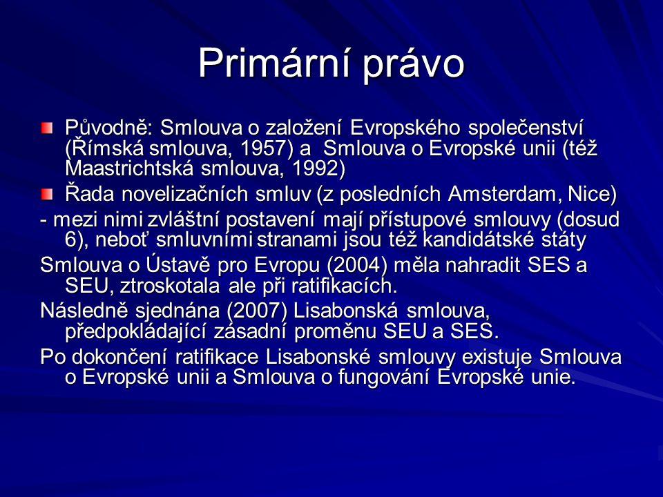 Primární právo Původně: Smlouva o založení Evropského společenství (Římská smlouva, 1957) a Smlouva o Evropské unii (též Maastrichtská smlouva, 1992)