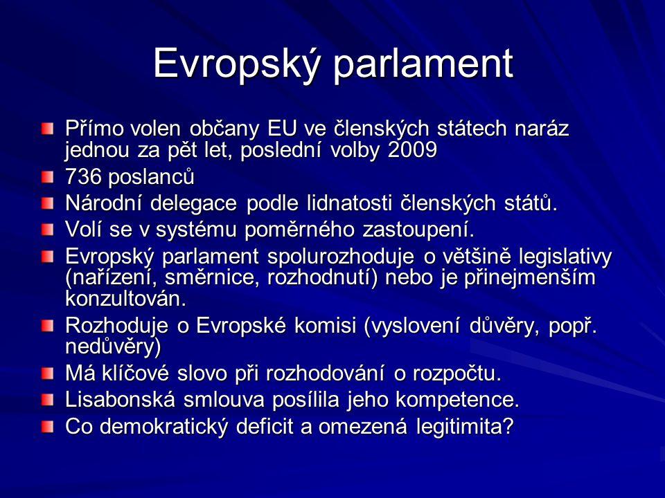 Evropský parlament Přímo volen občany EU ve členských státech naráz jednou za pět let, poslední volby 2009 736 poslanců Národní delegace podle lidnato
