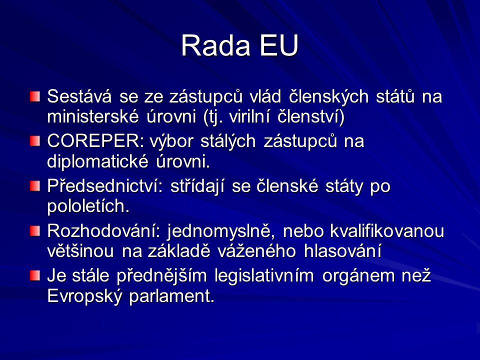 Rada EU Sestává se ze zástupců vlád členských států na ministerské úrovni (tj. virilní členství) COREPER: výbor stálých zástupců na diplomatické úrovn