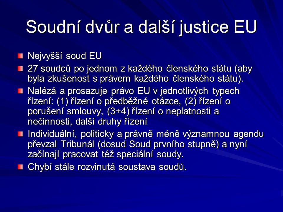 Soudní dvůr a další justice EU Nejvyšší soud EU 27 soudců po jednom z každého členského státu (aby byla zkušenost s právem každého členského státu). N