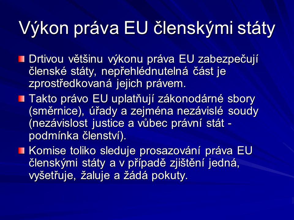 Výkon práva EU členskými státy Drtivou většinu výkonu práva EU zabezpečují členské státy, nepřehlédnutelná část je zprostředkovaná jejich právem. Takt