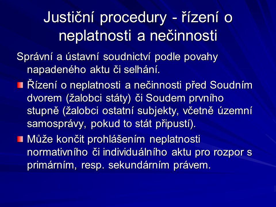 Justiční procedury - řízení o neplatnosti a nečinnosti Správní a ústavní soudnictví podle povahy napadeného aktu či selhání. Řízení o neplatnosti a ne