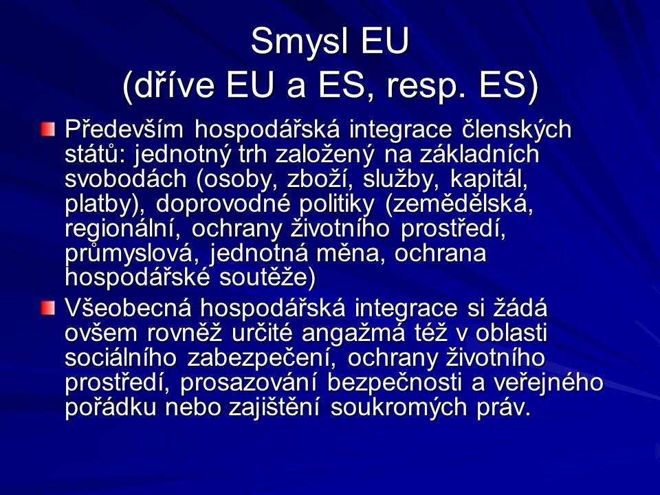 Smysl EU (dříve EU a ES, resp. ES) Především hospodářská integrace členských států: jednotný trh založený na základních svobodách (osoby, zboží, služb