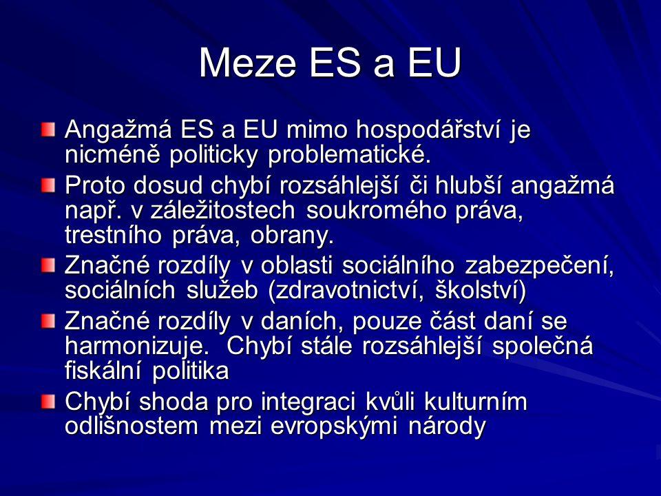 Meze ES a EU Angažmá ES a EU mimo hospodářství je nicméně politicky problematické. Proto dosud chybí rozsáhlejší či hlubší angažmá např. v záležitoste