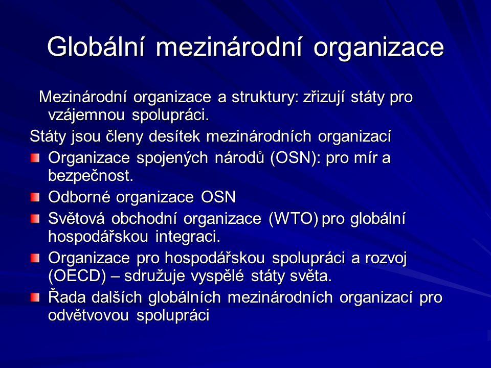 Globální mezinárodní organizace Mezinárodní organizace a struktury: zřizují státy pro vzájemnou spolupráci. Mezinárodní organizace a struktury: zřizuj