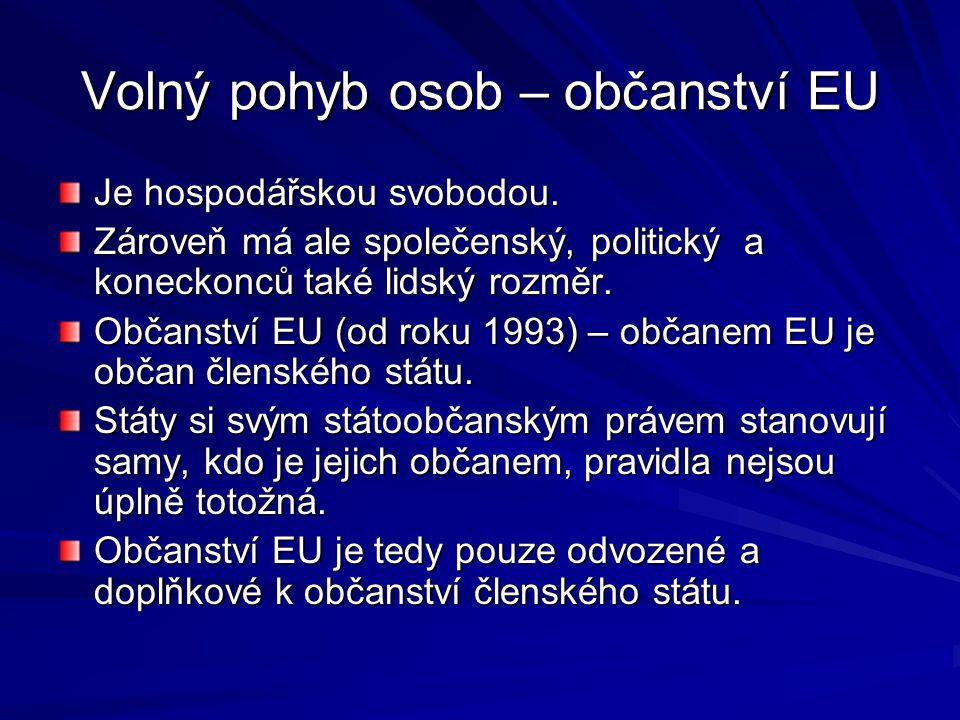 Volný pohyb osob – občanství EU Je hospodářskou svobodou. Zároveň má ale společenský, politický a koneckonců také lidský rozměr. Občanství EU (od roku