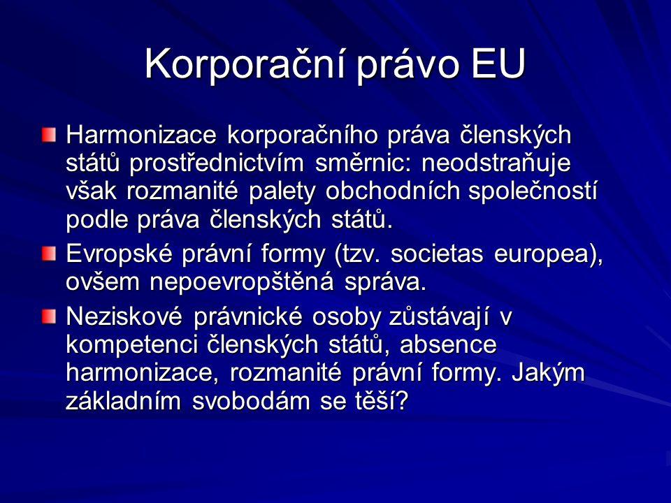 Korporační právo EU Harmonizace korporačního práva členských států prostřednictvím směrnic: neodstraňuje však rozmanité palety obchodních společností