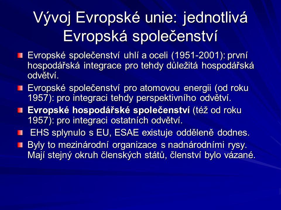 Evropská unie Vytvořena jako doplňková struktura k existujícím Evropským společenství teprve v roce 1992.