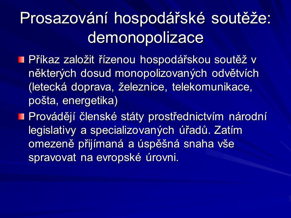 Prosazování hospodářské soutěže: demonopolizace Příkaz založit řízenou hospodářskou soutěž v některých dosud monopolizovaných odvětvích (letecká dopra