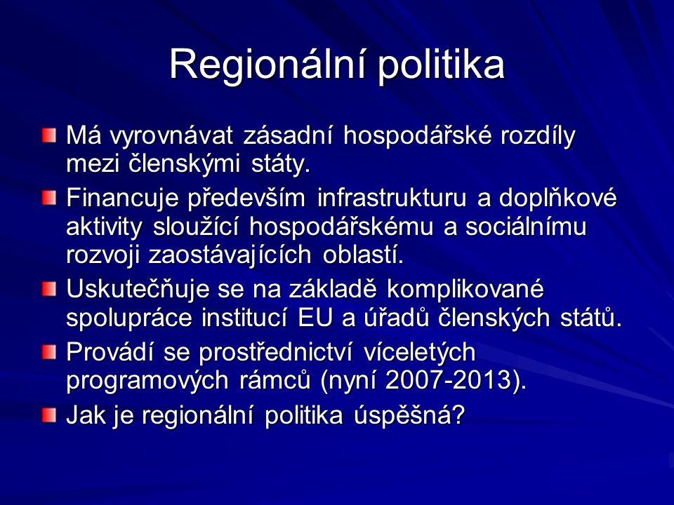 Regionální politika Má vyrovnávat zásadní hospodářské rozdíly mezi členskými státy. Financuje především infrastrukturu a doplňkové aktivity sloužící h