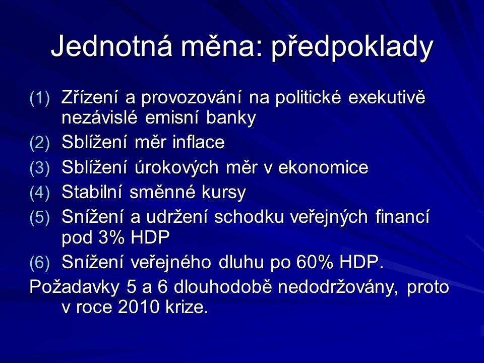 Jednotná měna: předpoklady (1) Zřízení a provozování na politické exekutivě nezávislé emisní banky (2) Sblížení měr inflace (3) Sblížení úrokových měr