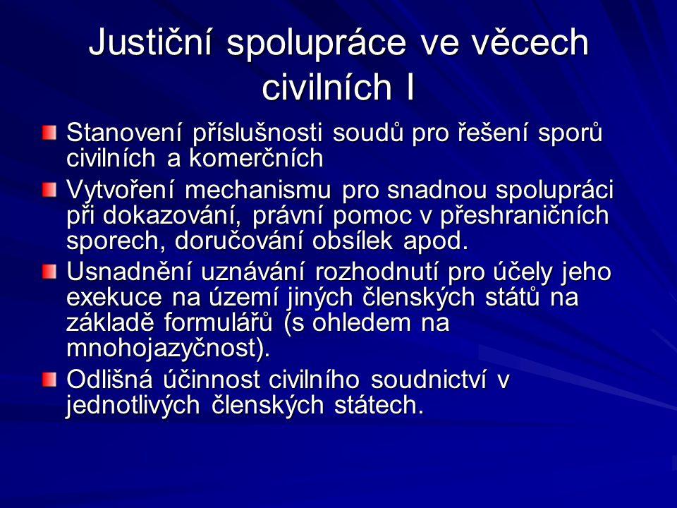 Justiční spolupráce ve věcech civilních I Stanovení příslušnosti soudů pro řešení sporů civilních a komerčních Vytvoření mechanismu pro snadnou spolup