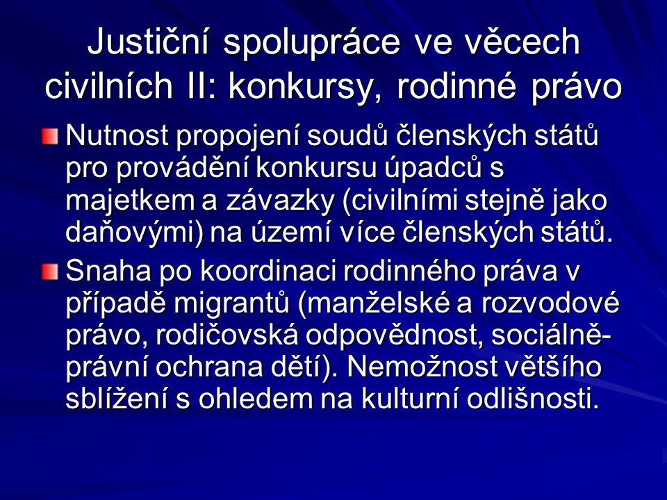 Justiční spolupráce ve věcech civilních II: konkursy, rodinné právo Nutnost propojení soudů členských států pro provádění konkursu úpadců s majetkem a