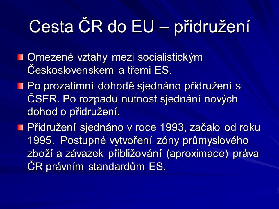 Cesta ČR do EU – přidružení Omezené vztahy mezi socialistickým Československem a třemi ES. Po prozatímní dohodě sjednáno přidružení s ČSFR. Po rozpadu