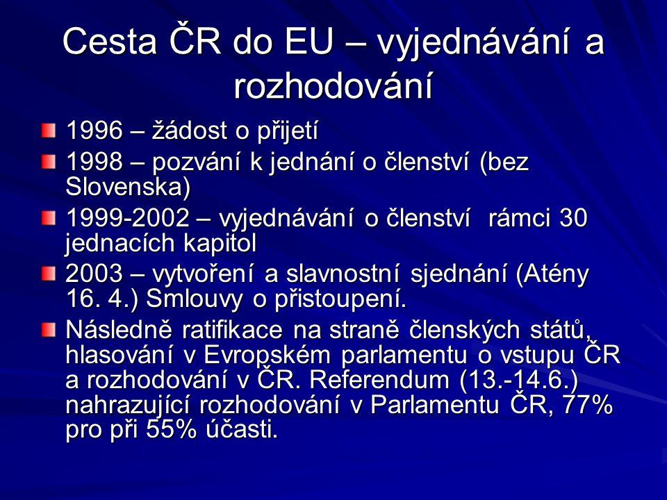 Cesta ČR do EU – vyjednávání a rozhodování 1996 – žádost o přijetí 1998 – pozvání k jednání o členství (bez Slovenska) 1999-2002 – vyjednávání o člens