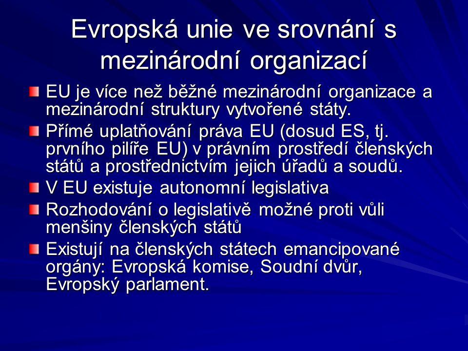 Evropská unie ve srovnání s mezinárodní organizací EU je více než běžné mezinárodní organizace a mezinárodní struktury vytvořené státy.