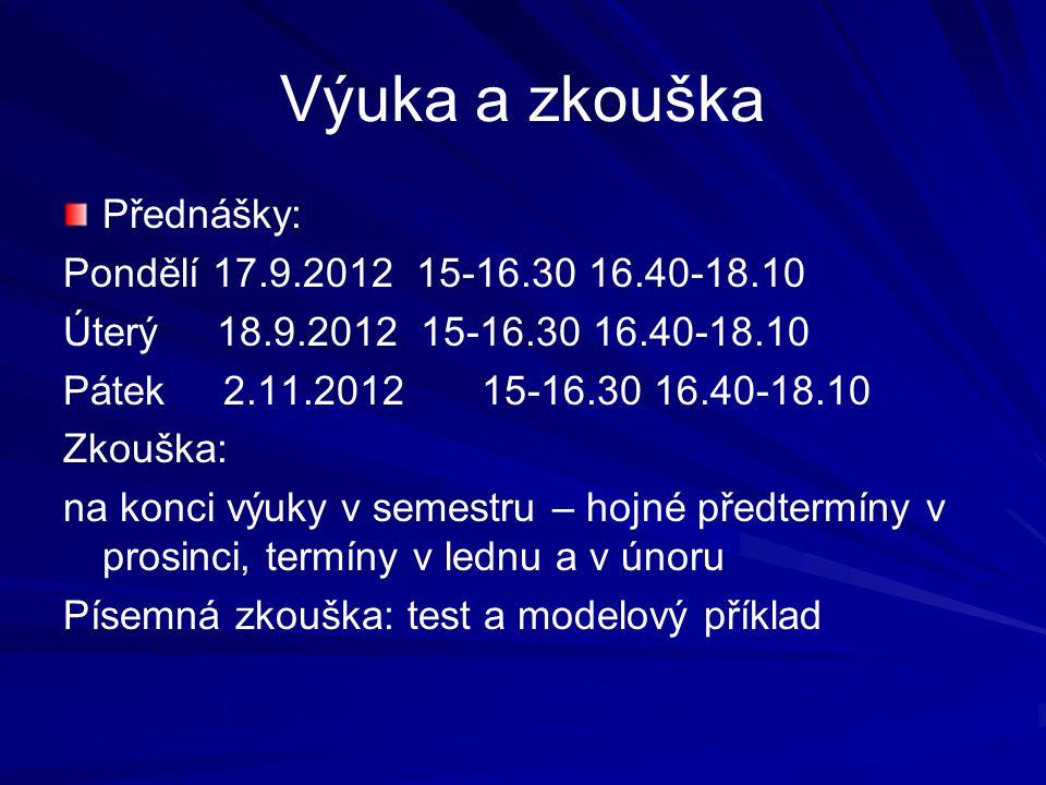 Výuka a zkouška Přednášky: Pondělí 17.9.2012 15-16.30 16.40-18.10 Úterý 18.9.2012 15-16.30 16.40-18.10 Pátek 2.11.2012 15-16.30 16.40-18.10 Zkouška: na konci výuky v semestru – hojné předtermíny v prosinci, termíny v lednu a v únoru Písemná zkouška: test a modelový příklad
