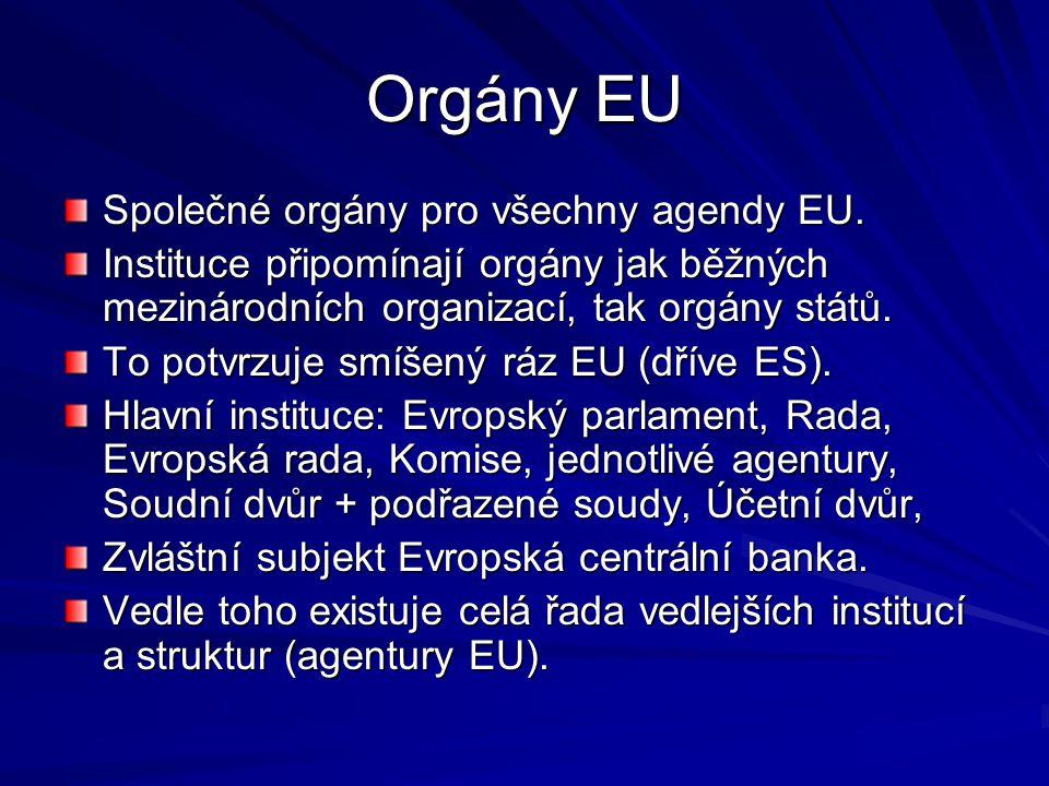 Orgány EU Společné orgány pro všechny agendy EU.