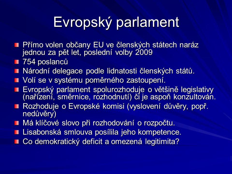 Evropský parlament Přímo volen občany EU ve členských státech naráz jednou za pět let, poslední volby 2009 754 poslanců Národní delegace podle lidnatosti členských států.