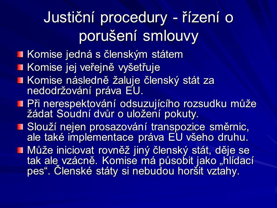 Justiční procedury - řízení o porušení smlouvy Komise jedná s členským státem Komise jej veřejně vyšetřuje Komise následně žaluje členský stát za nedodržování práva EU.