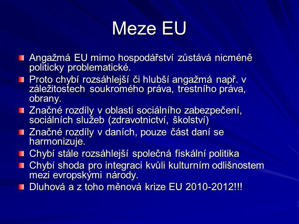 Meze EU Angažmá EU mimo hospodářství zůstává nicméně politicky problematické.