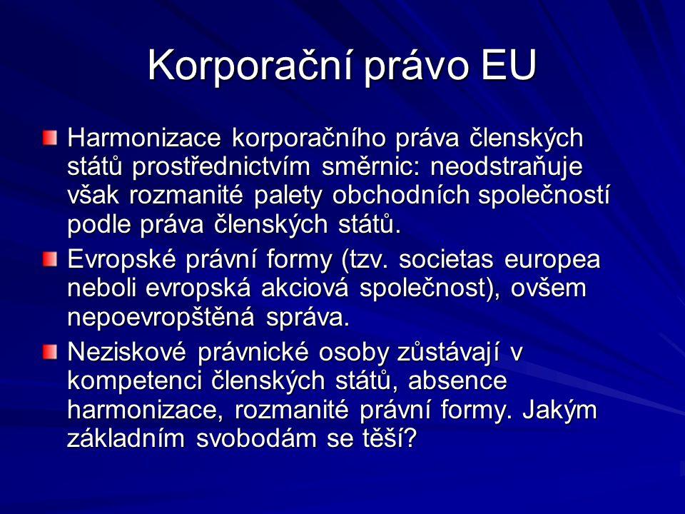 Korporační právo EU Harmonizace korporačního práva členských států prostřednictvím směrnic: neodstraňuje však rozmanité palety obchodních společností podle práva členských států.