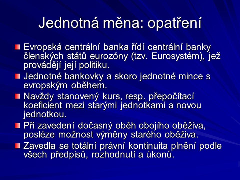 Jednotná měna: opatření Evropská centrální banka řídí centrální banky členských států eurozóny (tzv.