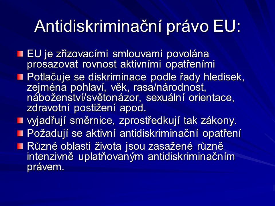 Antidiskriminační právo EU: EU je zřizovacími smlouvami povolána prosazovat rovnost aktivními opatřeními Potlačuje se diskriminace podle řady hledisek, zejména pohlaví, věk, rasa/národnost, náboženství/světonázor, sexuální orientace, zdravotní postižení apod.