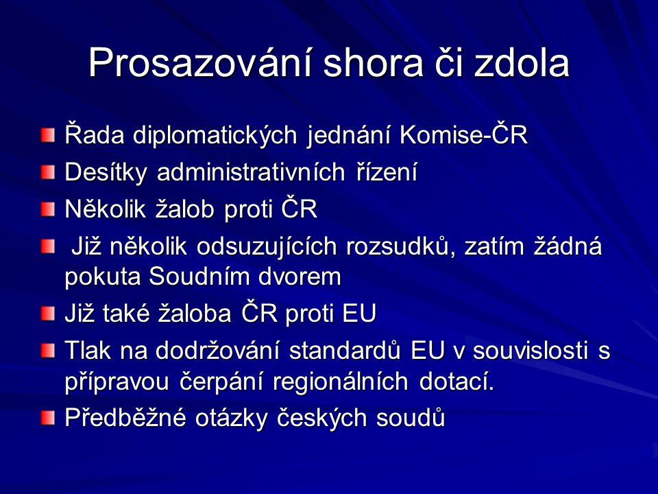 Prosazování shora či zdola Řada diplomatických jednání Komise-ČR Desítky administrativních řízení Několik žalob proti ČR Již několik odsuzujících rozsudků, zatím žádná pokuta Soudním dvorem Již několik odsuzujících rozsudků, zatím žádná pokuta Soudním dvorem Již také žaloba ČR proti EU Tlak na dodržování standardů EU v souvislosti s přípravou čerpání regionálních dotací.