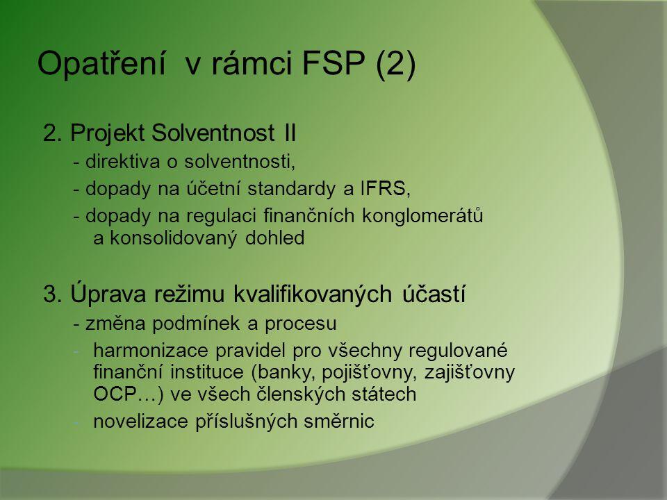 Opatření v rámci FSP 1. Oblast retailového bankovnictví - pravidla pro úvěry na bydlení - spotřebitelské úvěry - SEPA a direktiva o platebních službác