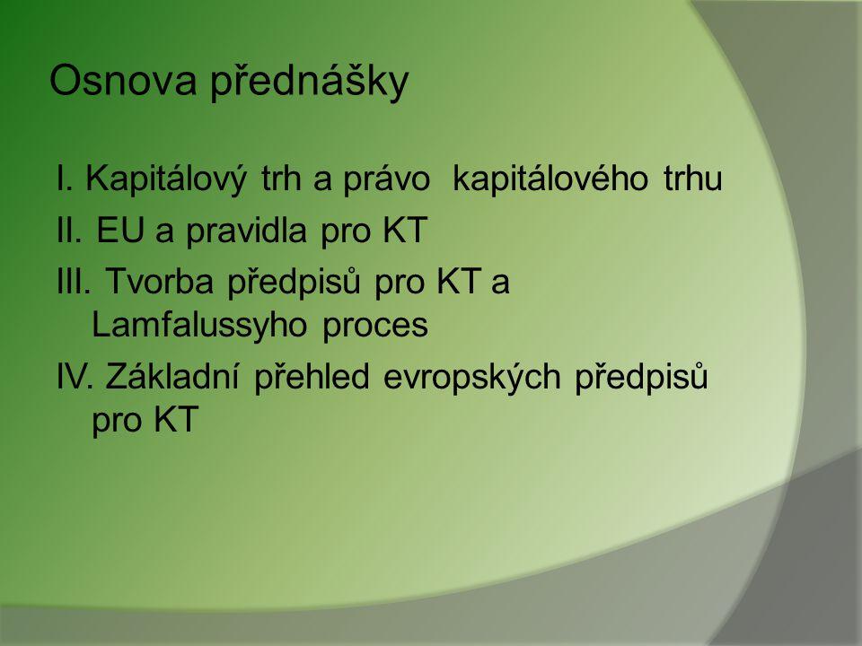 Osnova přednášky I.Kapitálový trh a právo kapitálového trhu II.