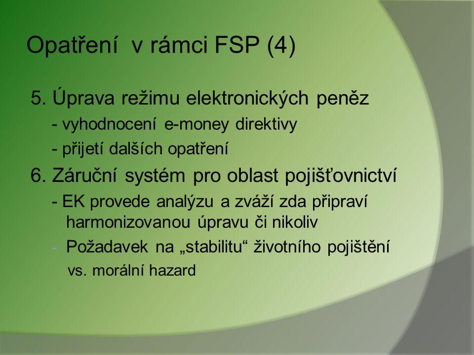 """Opatření v rámci FSP (3) 4. Clearing a settlement - příprava harmonizovaných pan-EU pravidel - omezování """"vertikálních sil"""" - odstraňování přeshraničn"""