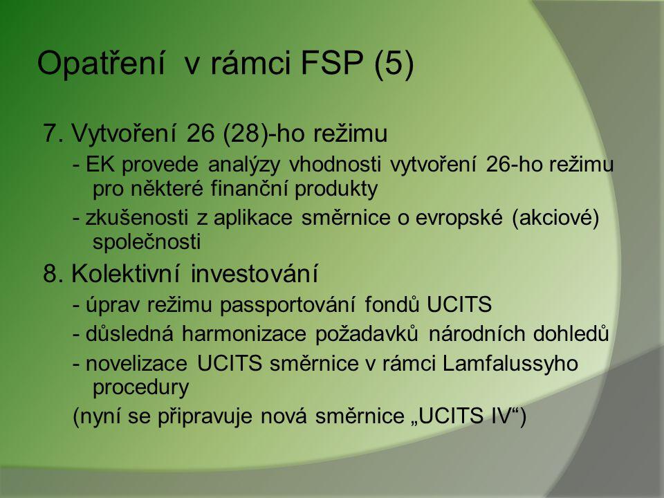 Opatření v rámci FSP (4) 5. Úprava režimu elektronických peněz - vyhodnocení e-money direktivy - přijetí dalších opatření 6. Záruční systém pro oblast