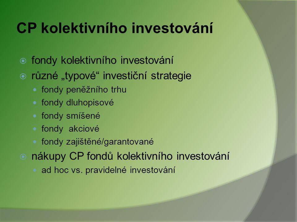 Úvod od využívání investičních služeb  Investování individuální ○ bez poradenství X s využitím investičního poradenství kolektivní  Do čeho různé ty