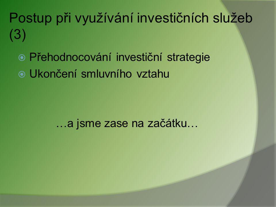 Postup při využívání investičních služeb (2)  Výběr vhodné investice/strategie samostatně X na základě konzultací X s poradcem  Uzavření smlouvy kom