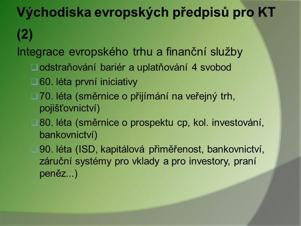Východiska evropských předpisů pro kapitálový trh  Čl. 49, 51 a 56 Římské smlouvy  Směrnice a nařízení podle čl. 251 smlouvy o ES (proces spolurozho