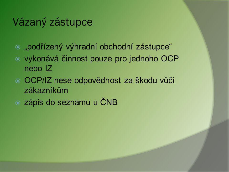 Investiční zprostředkovatel (2)  Může vykonávat další činnost např. zprostředkování pojištění  Pravidla pro činnost IZ analogie s pravidly pro OCP p